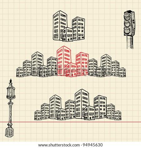 Cityscape, sketch set, vector illustration, eps10
