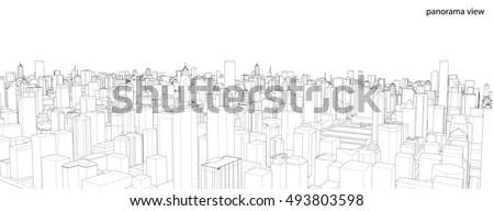 Cityscape Sketch, Vector Sketch. Architecture - Illustration