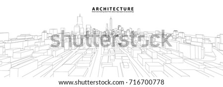Cityscape Sketch, Vector Sketch. Urban Architecture - Architecture Illustration background.