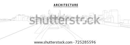 Cityscape Sketch, Vector Sketch. Urban Architecture - Architecture Illustration background. - Shutterstock ID 725285596