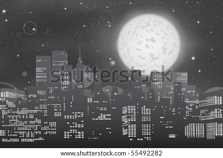 cityscape skyline at full moon