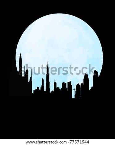 cityscape skyline at full moon