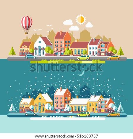 cityscape the city in winter