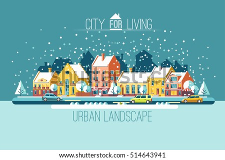 Cityscape. The city in winter holidays. Urban landscape. Vector flat illustration.