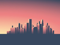 Cityscape vector background. Skyline wallpaper with skyscrapers in sunset or sunrise. Eps10 vector illustration.