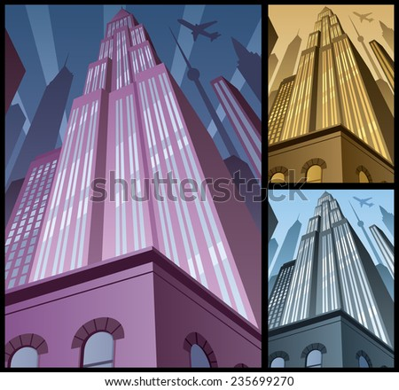 Cityscape Vertical 2: Cartoon city in 3 color variations. Basic (linear) gradients used. No transparency. A4 proportions.