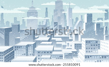 cityscape winter  winter in the
