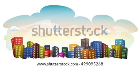 cityscape with buildings on sky