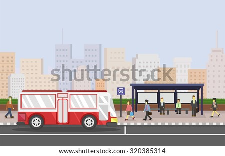 cityscape with bus stop public