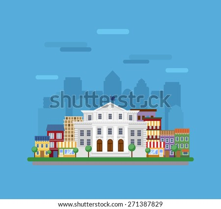 Cityscape with government building in the foreground.
