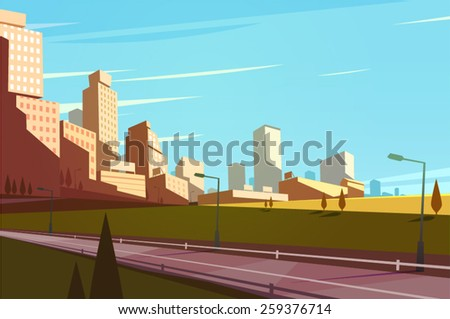 cityscape with highway vector