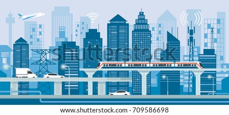 cityscape with infrastructure