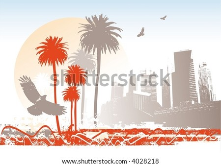 cityscape with palms  sun