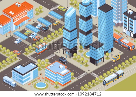 Cityscape with public transport cars and tall buildings 3d isometric vector illustration