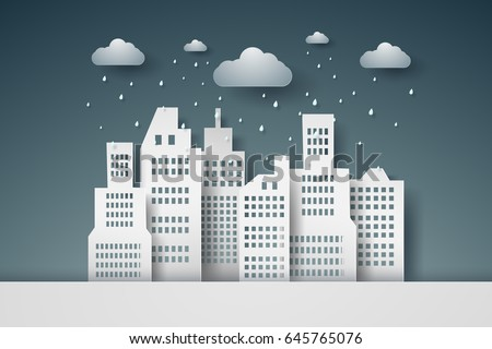 cityscape with rain   paper art