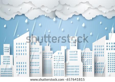 cityscape with rain   rainy