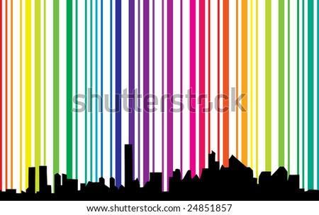 Cityscape with spectrum background