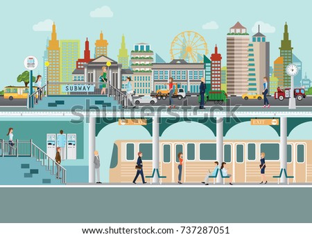 Cityscape with subway train station platform  under city street with people enter subway station flat vector illustration.