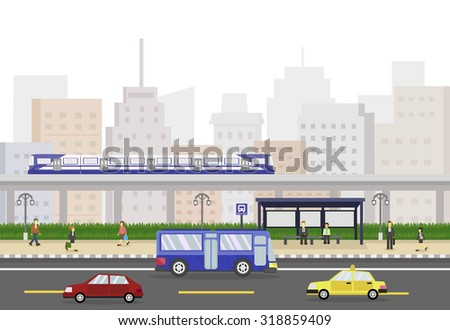 Cityscape with train, people and bus stop, public transportation. vector illustration