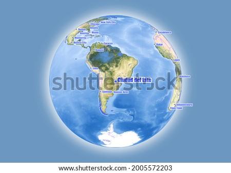 Ciudad del Este-Paraguay is shown on vector globe map. The map shows Ciudad del Este-Paraguay 's location in the world. Foto stock ©