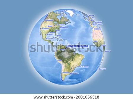 Ciudad Guayana-Venezuela is shown on vector globe map. The map shows Ciudad Guayana-Venezuela 's location in the world. Foto stock ©