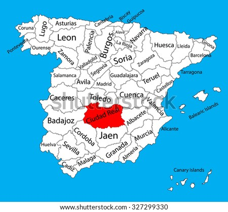 ciudad real map  spain province