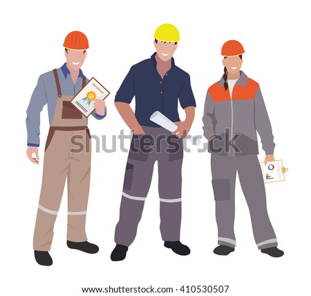 Civil Engineer, Architect And Construction Workers Characters Group. Vector  Flat Design Construction Team Characters  Civil Engineer