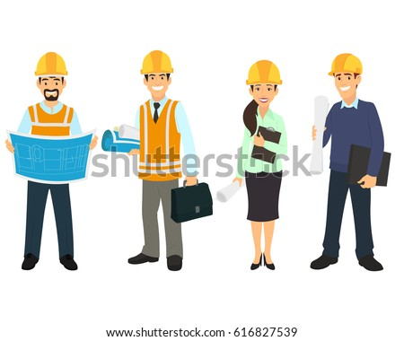 Civil engineer, architect and construction workers characters group. vector illustration.