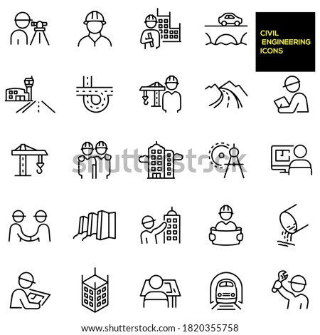 Civil Engineering Thin Line Icons -stock illustration. engineers, surveyor, engineer holding blueprint with building in background, bridge with car driving over it, airport runway, freeway.