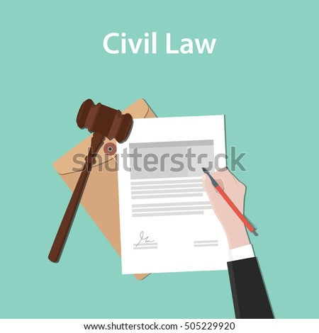 civil law  illustration concept a business man hand signing a paper document with flat style with gavel