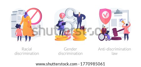 Civil rights violation abstract concept vector illustration set. Police violence, gender discrimination, anti-discrimination law, mass protest, police brutality, gender roles abstract metaphor.
