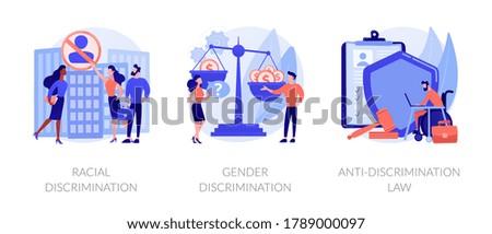 Civil rights violation abstract concept vector illustration set. Racial discrimination, gender discrimination, anti-discrimination law, mass protest, police brutality, gender roles abstract metaphor.