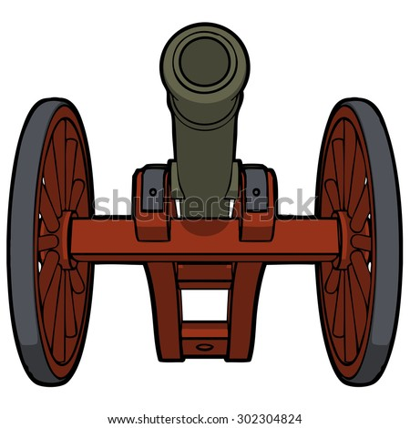 civil war cannon with view from