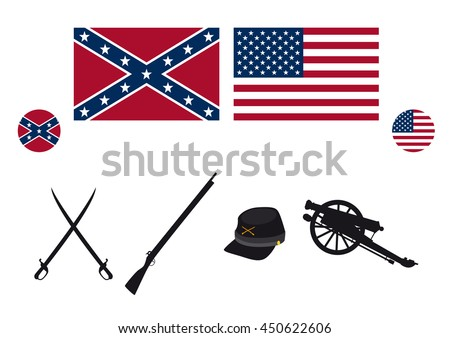 civil war usa attributes vector