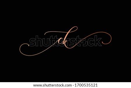 ck or c, k Lowercase Cursive Letter Initial Logo Design, Vector Template Stok fotoğraf ©