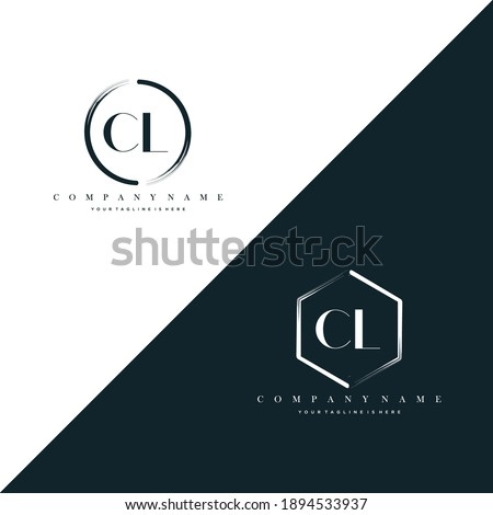 CL Initial Letter Circle Brush With Hexagon Brush Logo Template Vector Photo stock ©