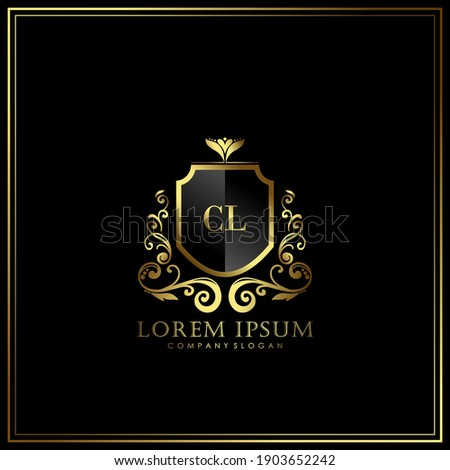 CL Initial Letter Luxury Logo template in vector art for Restaurant, Royalty, Boutique, Cafe, Hotel, Heraldic, Jewelry, Fashion and other vector illustration. Photo stock ©