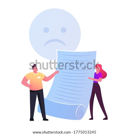 Claim Customer Concept. Tiny Characters with Sad Face Holding Huge Paper. Client Complaint, Negative Feedback, Service Dislike, Rejection, Not Approved and Unhappy People. Cartoon Vector Illustration Photo stock ©