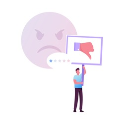 Claim Customer, Rating, Quality and Business Ranking Concept. Man Character with Thumb Down Put One Star for Bad Service. Client Review, Feedback, Low Satisfaction Level. Cartoon Vector Illustration