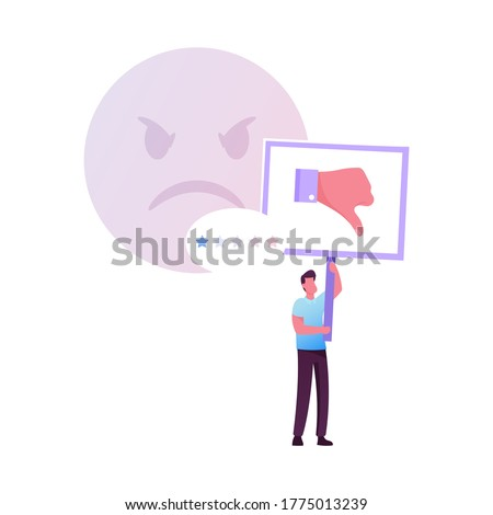 Claim Customer, Rating, Quality and Business Ranking Concept. Man Character with Thumb Down Put One Star for Bad Service. Client Review, Feedback, Low Satisfaction Level. Cartoon Vector Illustration Stock foto ©