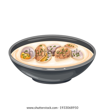Clam chowder soup bowl vector icon. Traditional American cream soup with clams and broth. Сток-фото ©
