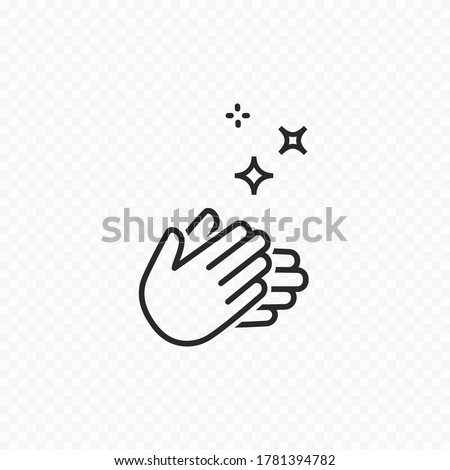 Clap hand icon isolated on transparent background. Vector hygiene, disease prevention symbol. Healthcare clean skin, antibacterial icon
