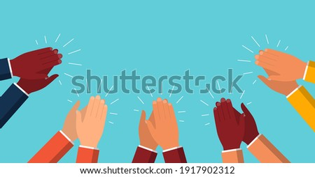 Clap of hand. Applause of people. Applaud and congratulations of success business. Great ovation from audience. Cartoon hands with claps. Sign of bravo, happy, appreciation, applaus. Vector.