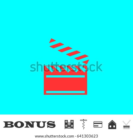 clapper board icon flat red