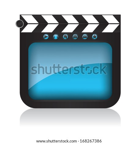 Clapper board illustration and web buttons
