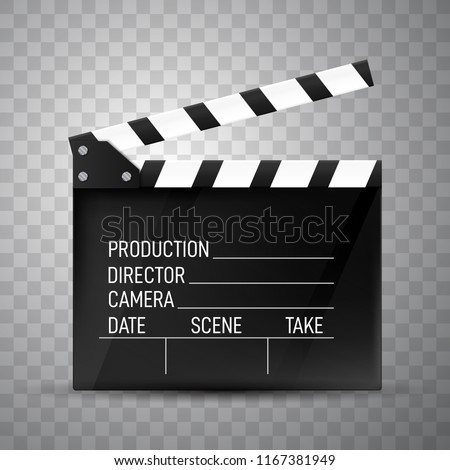 Clapper board on transparent background. Movie clapper.