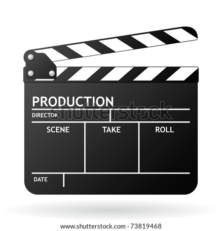 Clapper board on white background, vector EPS 8