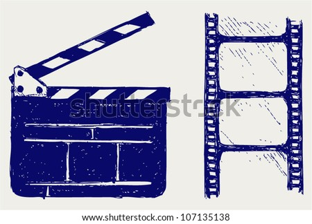 Clapper board. Vector sketch