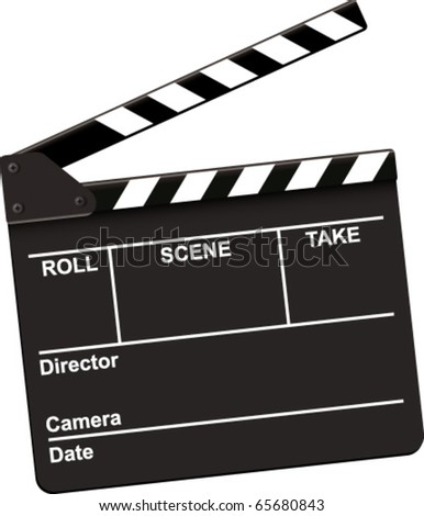 clapperboard black open