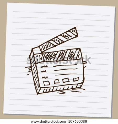 clapperboard doodle  vector illustration